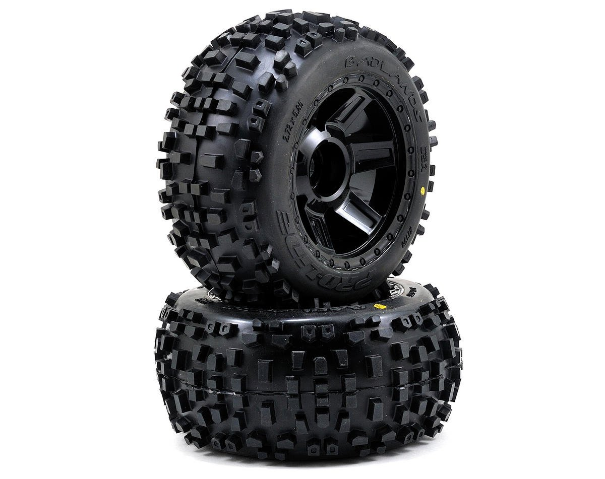 "Badlands 3.8"" Tire 1/2"" Offset Wheel (2) (Black) by Pro-Line"