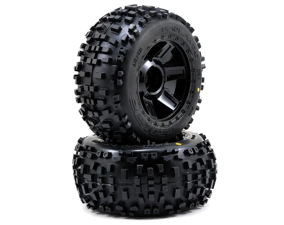 """Pro-Line Badlands 3.8"""" Tire 1/2"""" Offset Wheel (2) (Black) (M2)"""