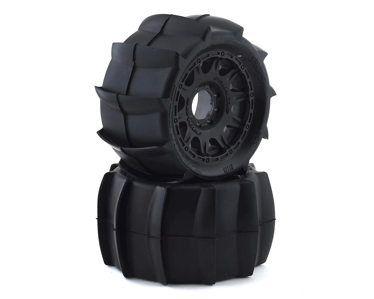 "Pro-Line Sling Shot  MX38 3.8"" Tire w/Raid 8x32 Wheels (2) (Black) (Traxxas Summit)"