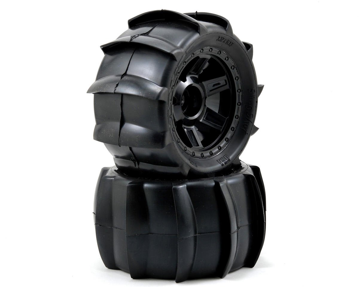 "Pro-Line Sling Shot 3.8"" Tire 1/2"" Offset Wheel (2) (Black) (Tekno RC MT410)"