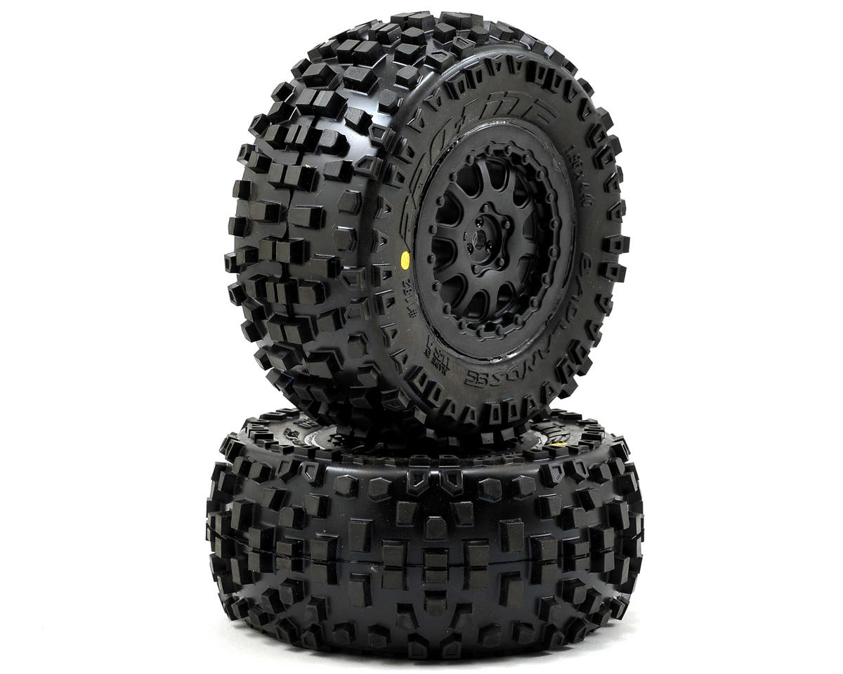 Pro-Line Badlands SC Tires w/ProTrac Renegade Wheels (2) (Black) (Team Associated SC10)