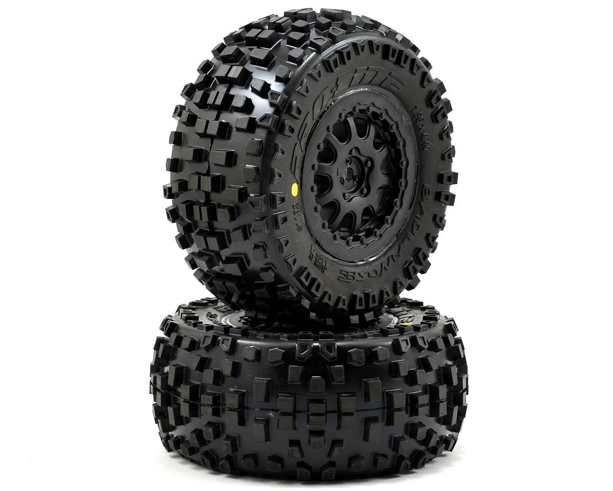 Pro-Line Badlands SC Tires w/ProTrac Renegade Wheels (2) (Black) (Team Associated SC10 4x4)