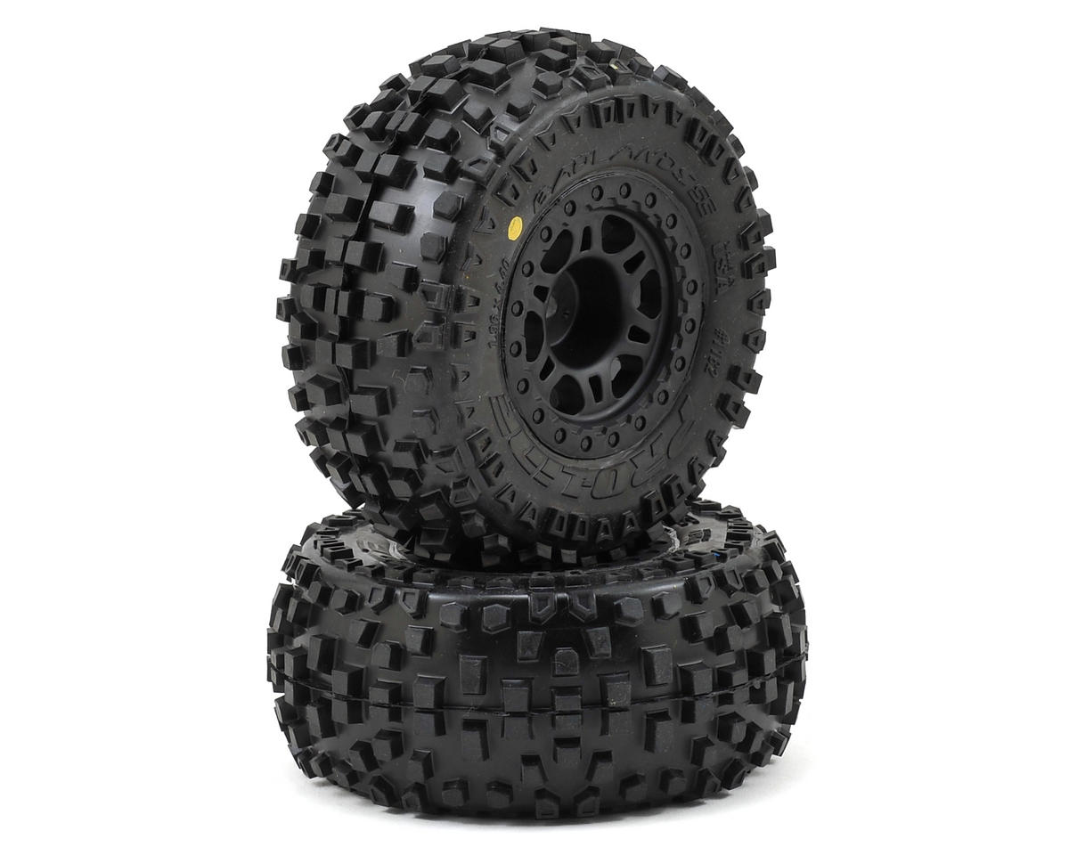 Badlands SC Tires w/Split Six Wheels (2) (Slash Rear) (M2) by Pro-Line