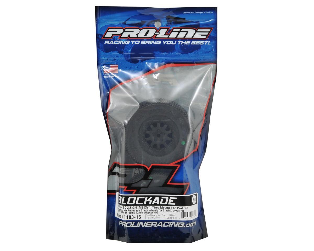 """Pro-Line Blockade 2.0 Pre-Mounted SC 2.2/3.0 M3 Tire w/""""ProTrac"""" Renegade Hex Wh"""