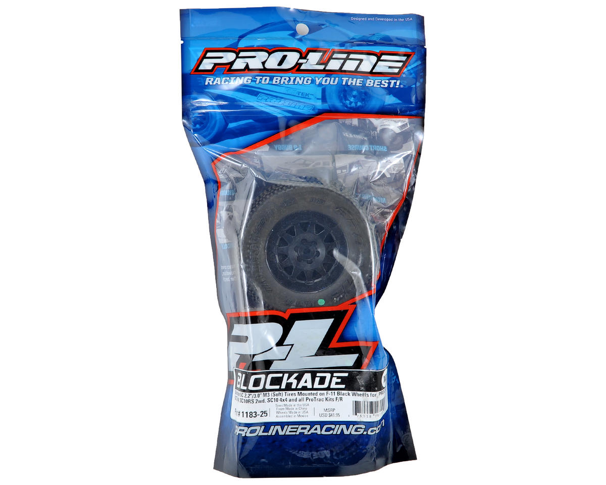 "Blockade SC Tires w/""ProTrac"" F-11 Wheels (2) (Black) (M3) by Pro-Line"