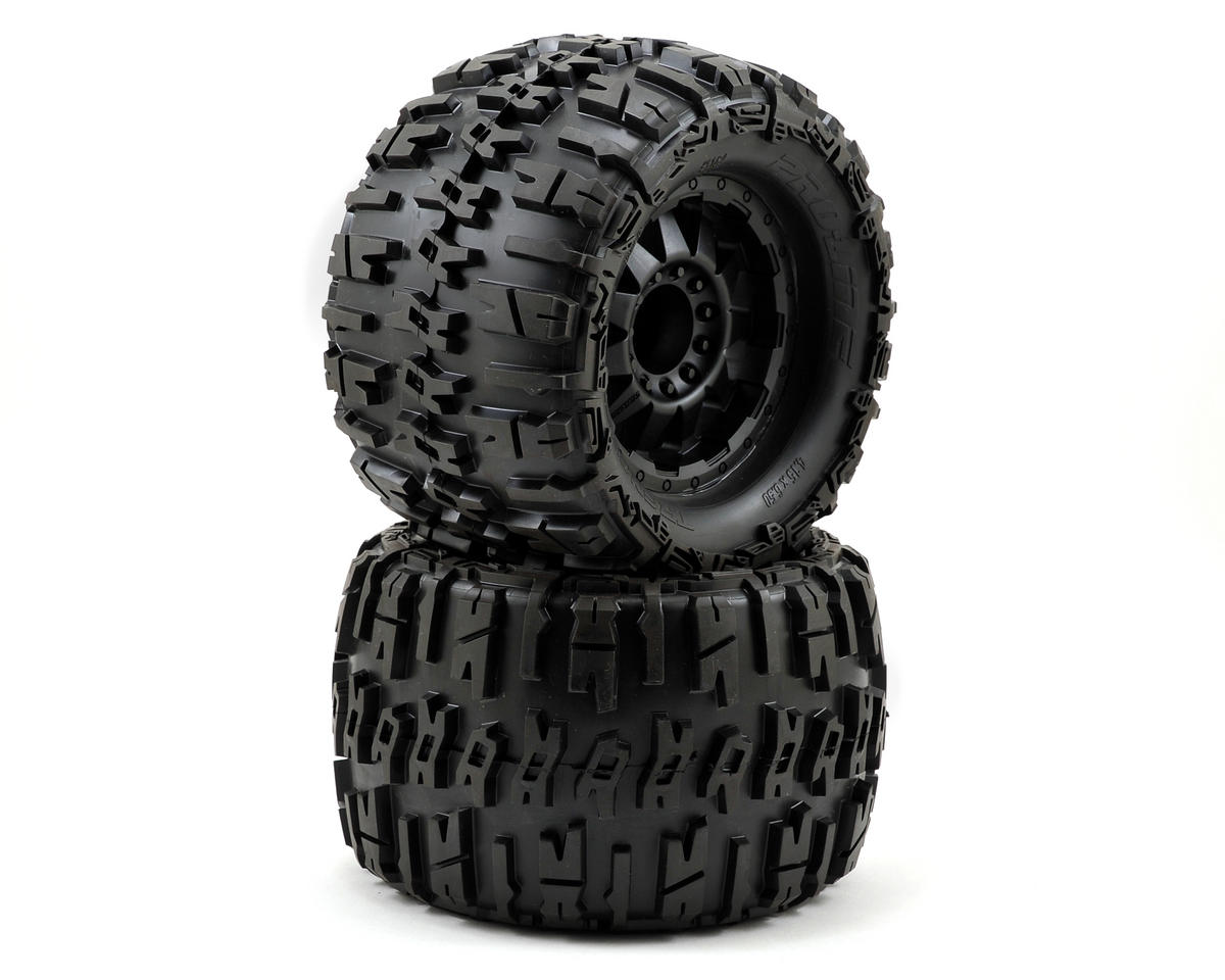"Pro-Line Trencher X 3.8"" Tire w/F-11 17mm 1/2"" Offset MT Wheel (2) (Black) (Tekno RC MT410)"