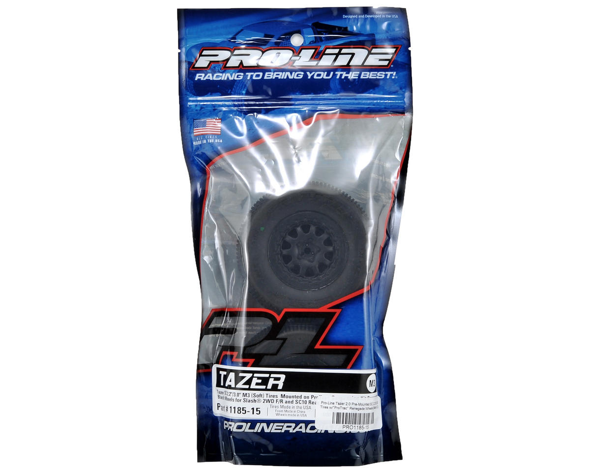 "Pro-Line Tazer 2.0 Pre-Mounted SC 2.2/3.0 M3 Tires w/""ProTrac"" Renegade Wheels ("