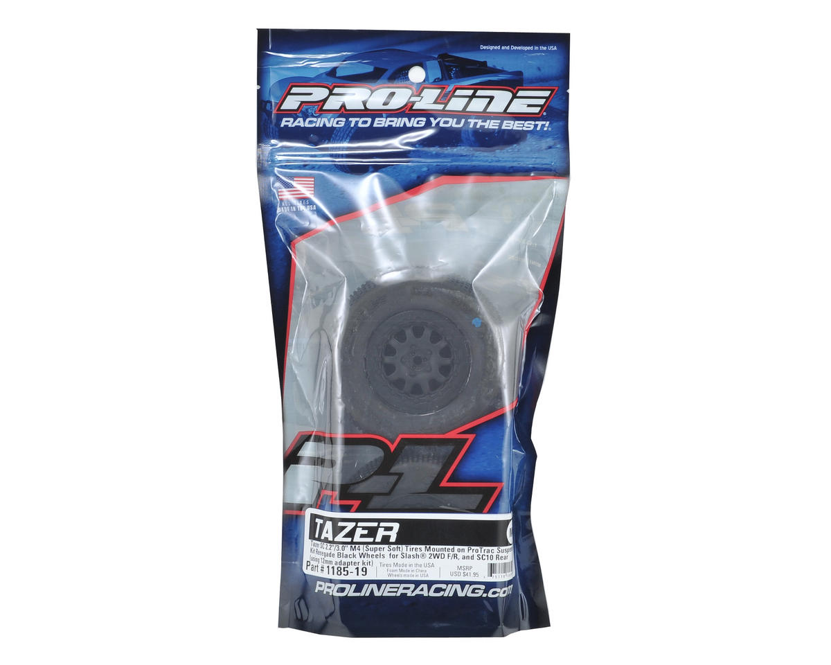 "Pro-Line Tazer 2.0 Pre-Mounted SC 2.2/3.0 M4 Tires w/""ProTrac"" Renegade Wheels ("