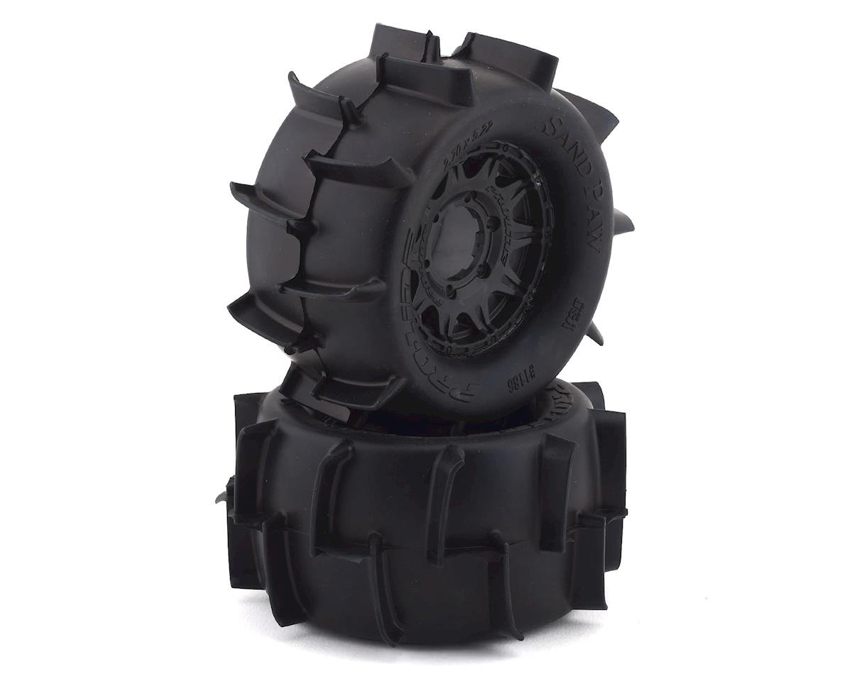 "Pro-Line Sand Paw 2.8"" Pre-Mounted Tires w/Raid Rear Wheels (2) (Black) (Traxxas Jato)"