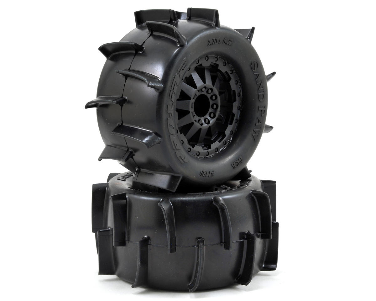 "Pro-Line Sand Paw 2.8"" Tires w/F-11 Nitro Rear Wheels (2) (Black) (XTM)"
