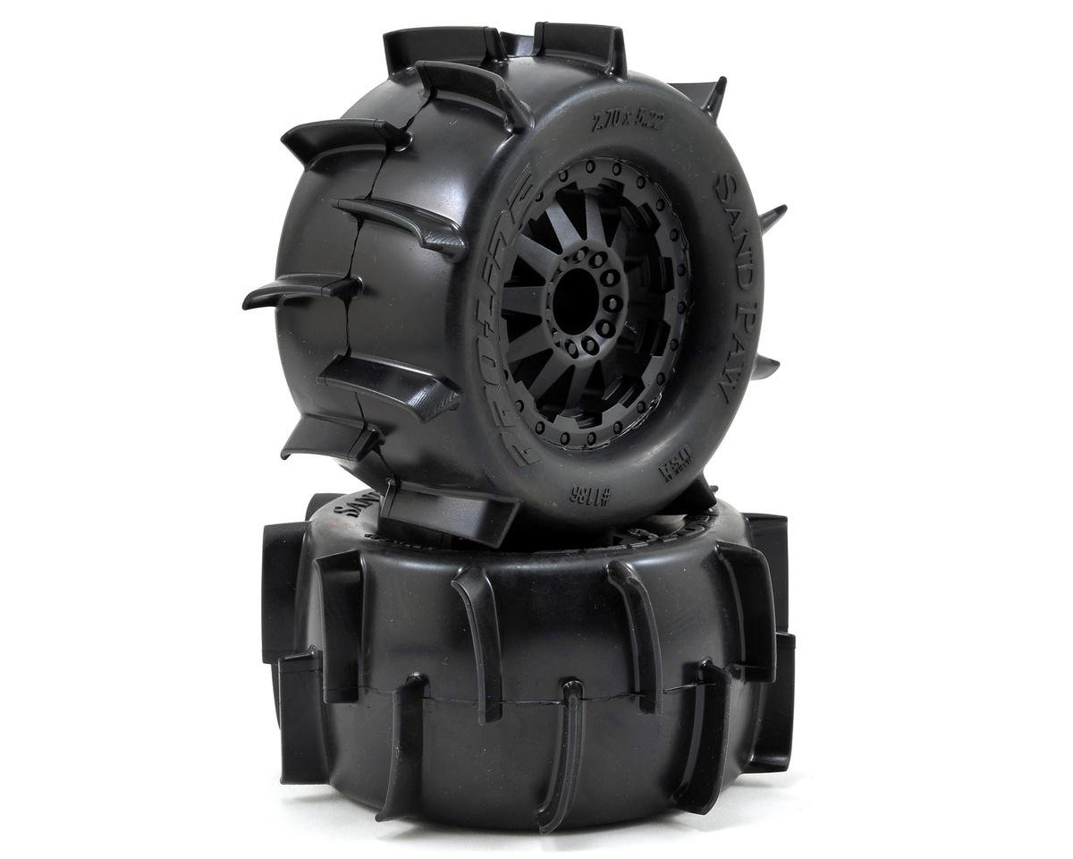 "Pro-Line Sand Paw 2.8"" Tires w/F-11 Nitro Rear Wheels (2) (Black) (Traxxas Jato)"