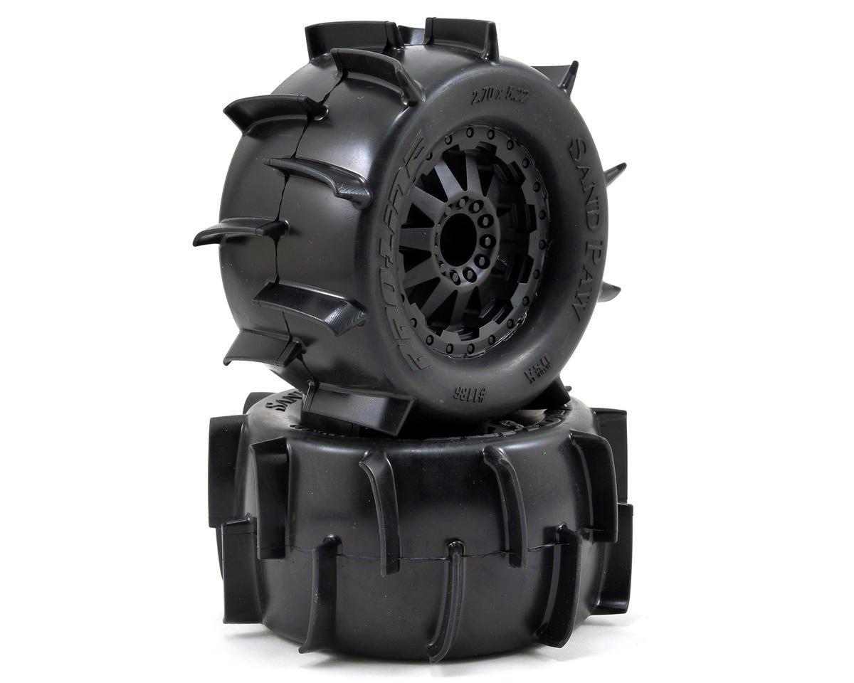 "Pro-Line Sand Paw 2.8"" Tires w/F-11 Nitro Rear Wheels (2) (Black) (Traxxas Rustler)"