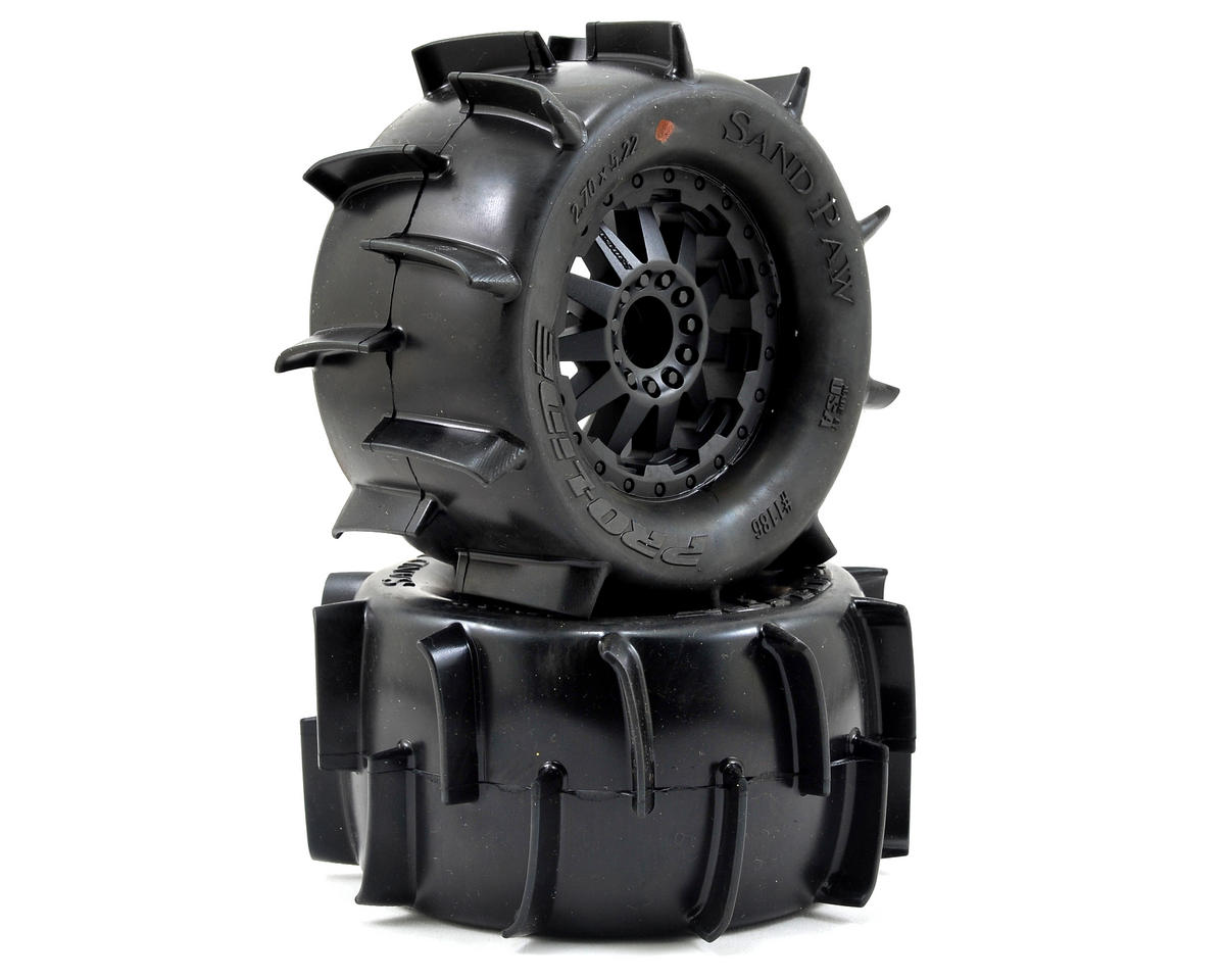 "Sand Paw 2.8"" Tires w/F-11 Electric Rear Wheels (2) (Black) by Pro-Line"