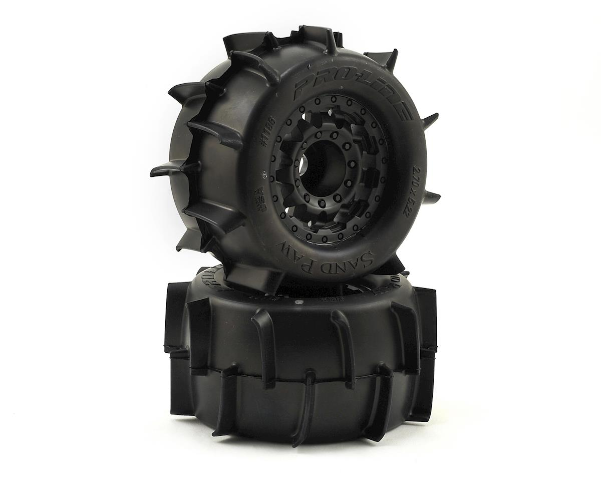 "Sand Paw 2.8"" Tires w/F-11 Nitro Rear Wheels (2) (Black) by Pro-Line"