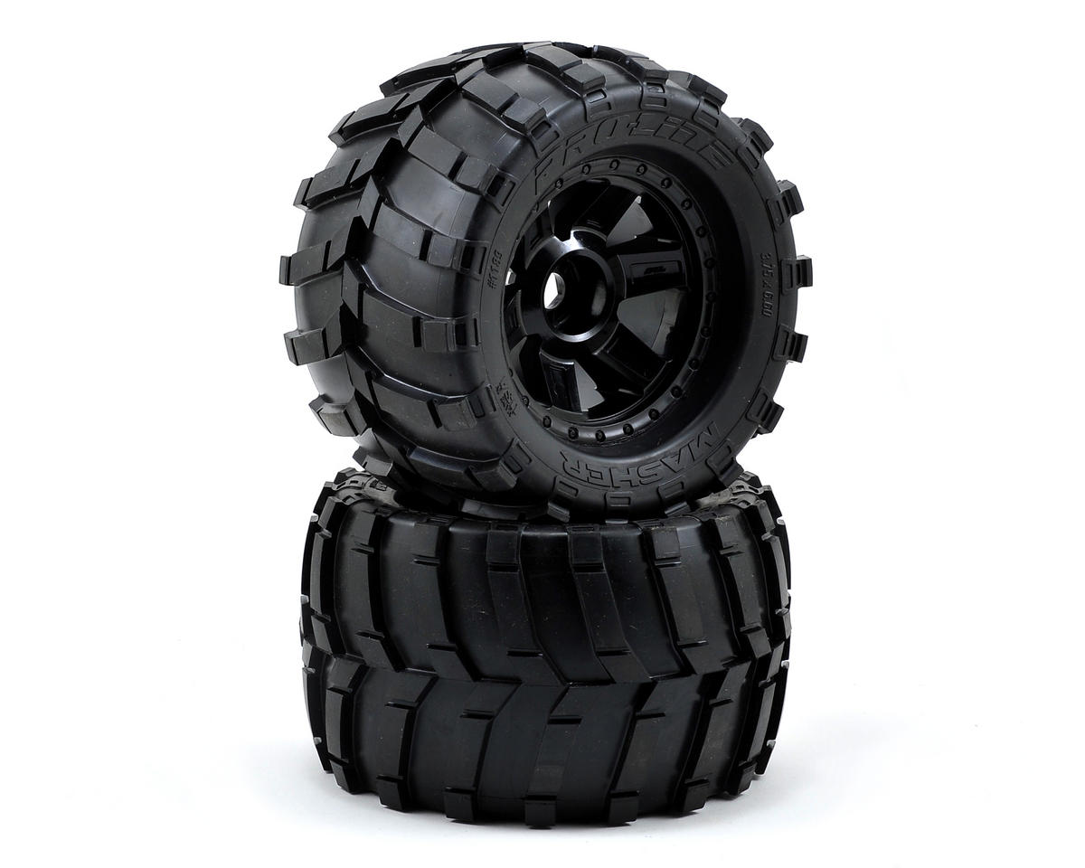 "Pro-Line Masher 3.8"" Tire w/Desperado 17mm 1/2"" Offset MT Wheel (2) (Black) (Tekno RC MT410)"