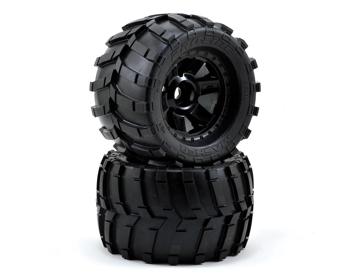 "Pro-Line Masher 3.8"" Tire w/Desperado 17mm 1/2"" Offset MT Wheel (2) (Black) (M2)"