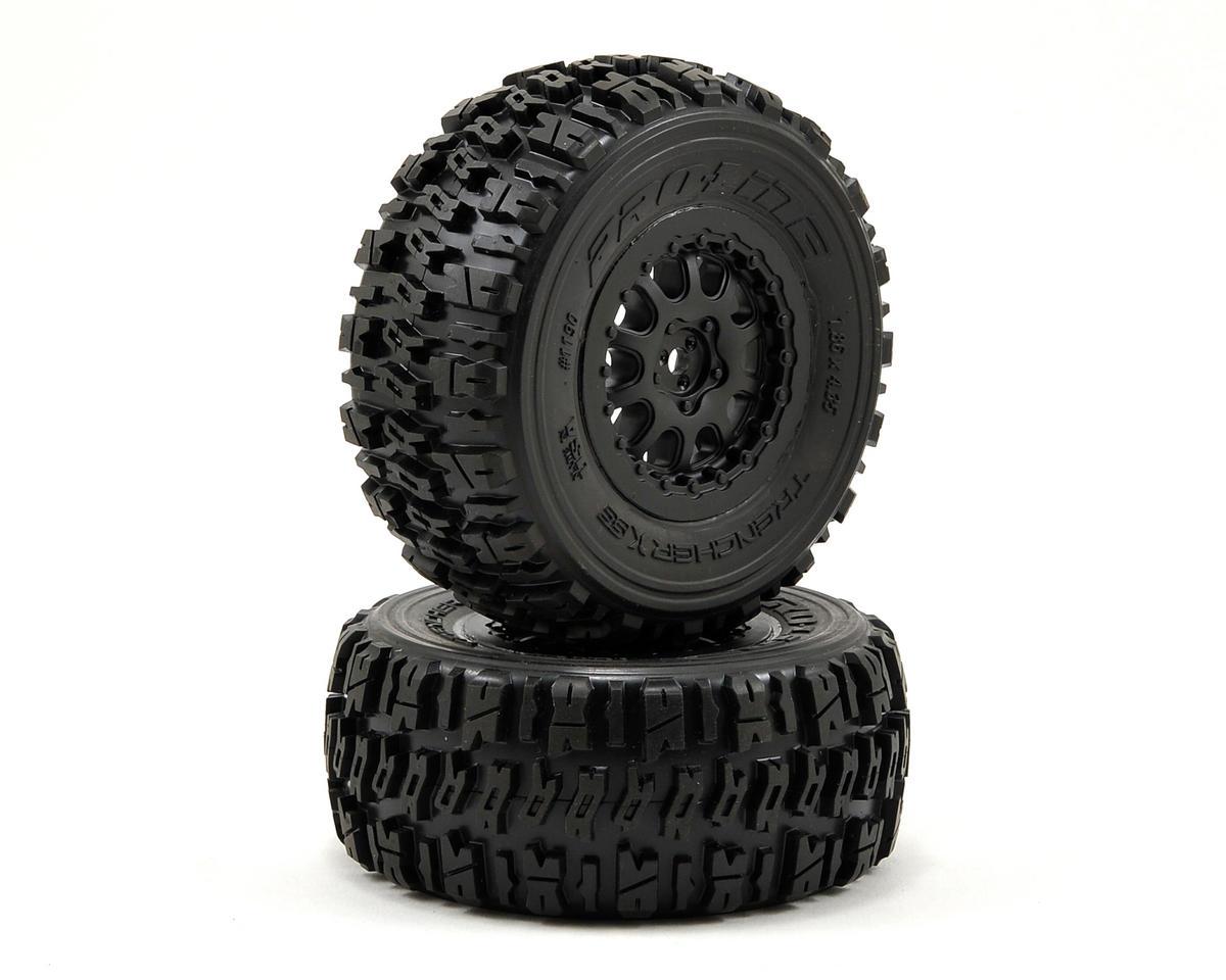 Pro-Line Trencher X SC Tires w/Renegade Wheels (2) (Slash Rear) (Black) (HPI Racing Blitz)
