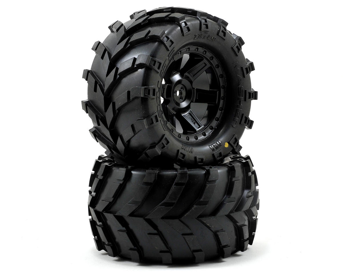 Pro-Line Masher 2.8 w/Desperado Electric Rear Wheels (2) (Black) (Traxxas Rustler)