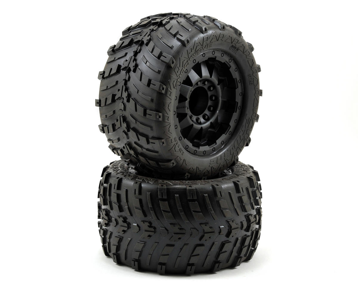 "Pro-Line Shockwave 3.8"" Tire w/F-11 17mm 1/2"" Offset MT Wheel (2) (Black) (Tekno RC MT410)"