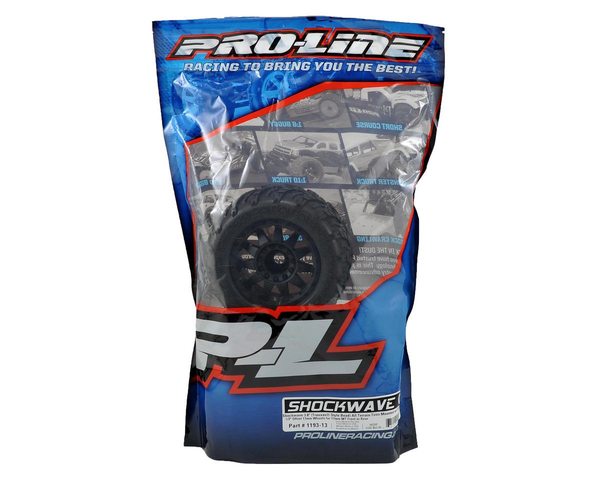 """Image 2 for Pro-Line Shockwave 3.8"""" Tire w/F-11 17mm 1/2"""" Offset MT Wheel (2) (Black)"""