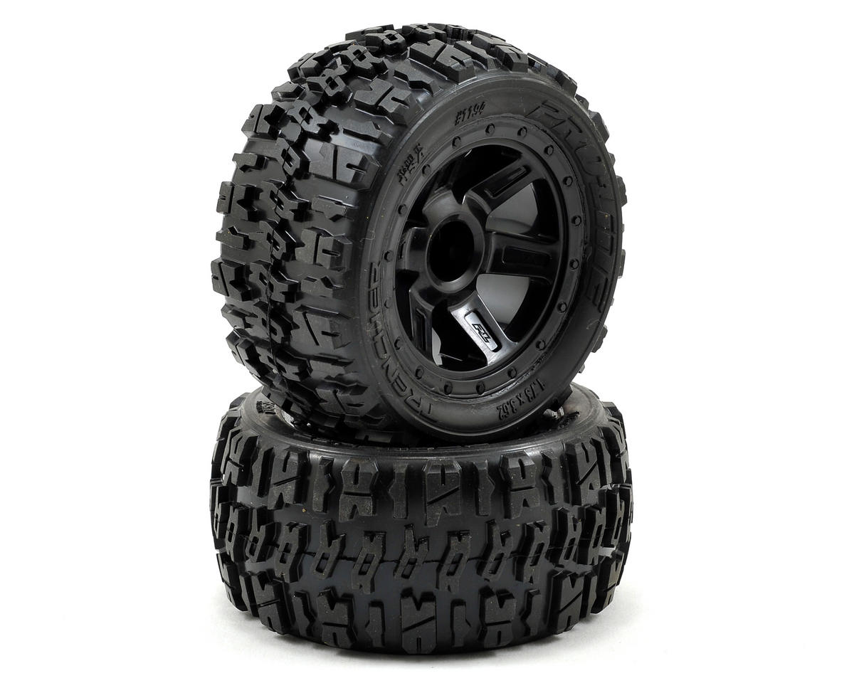 Pre-Mounted Trencher Desperado Wheels (2) (1/16 E-Revo) (Black) by Pro-Line
