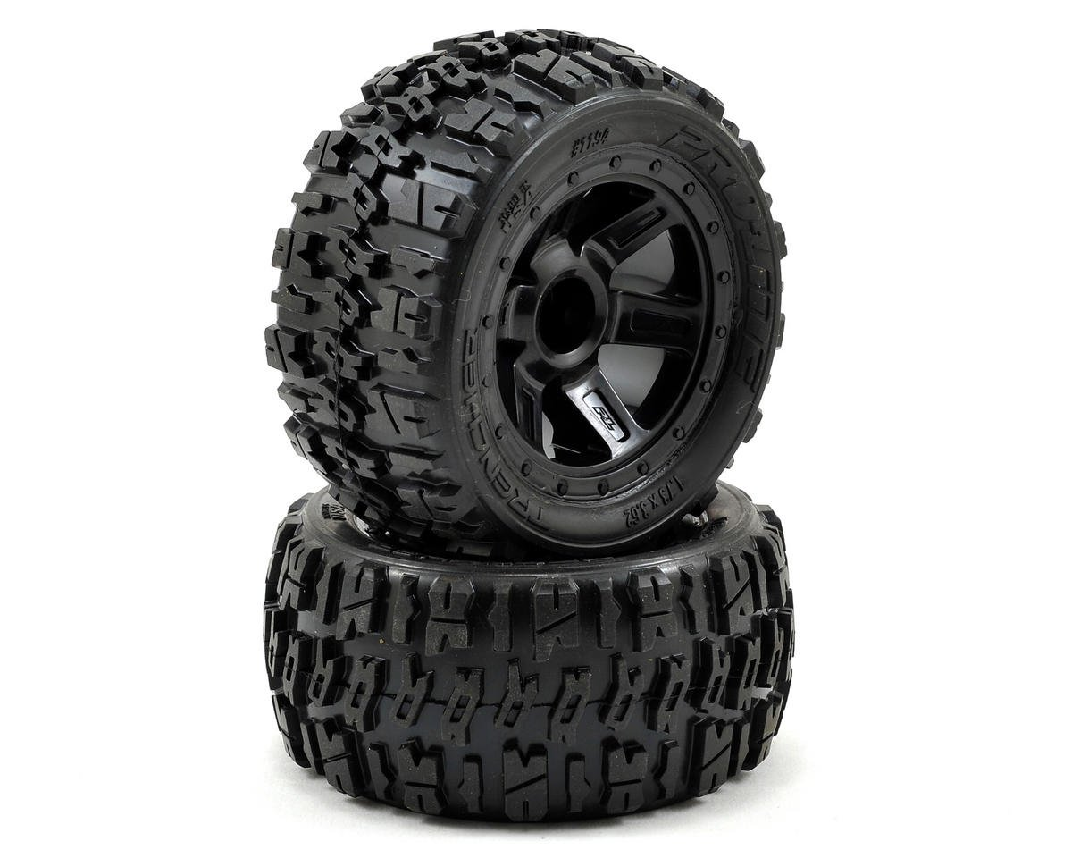 Pro-Line Pre-Mounted Trencher Desperado Wheels (2) (1/16 E-Revo) (Black)