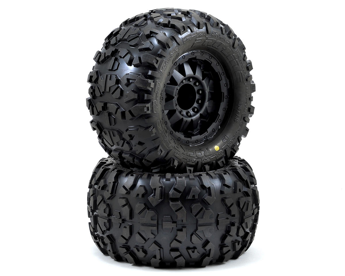 "Pro-Line Rock Rage 3.8"" Tire w/F-11 17mm 1/2"" Offset MT Wheel (2) (Black) (Traxxas Revo)"