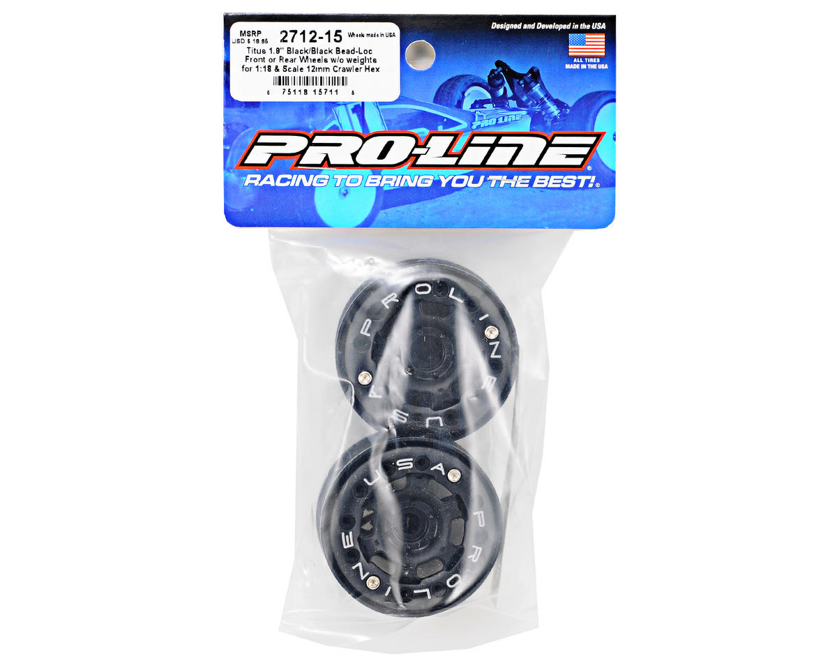 "Pro-Line Titus 1.9"" Bead Loc Wheel w/12mm Hex (Black/Black) (2)"