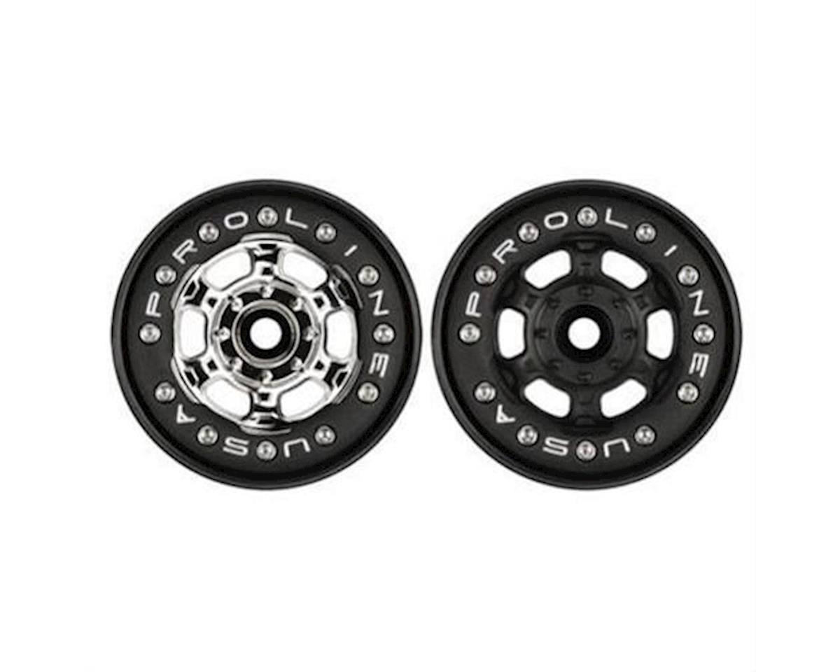 Pro-Line Racing  Titus 2.2 Black/Black Bead Loc Front/Rear Wheels: 1/16 Erv