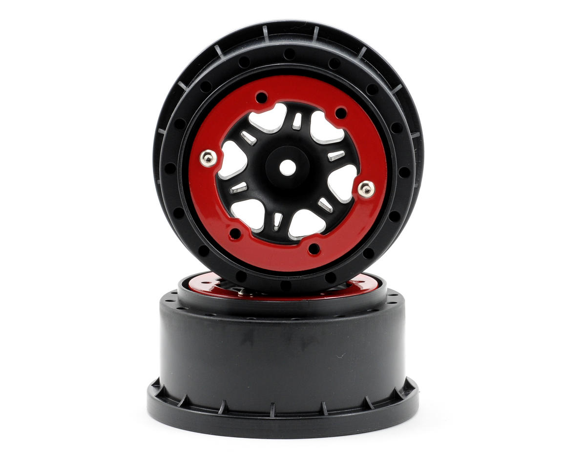 Split Six Bead-Loc Short Course Front Wheels (Black/Red) (2) by Pro-Line