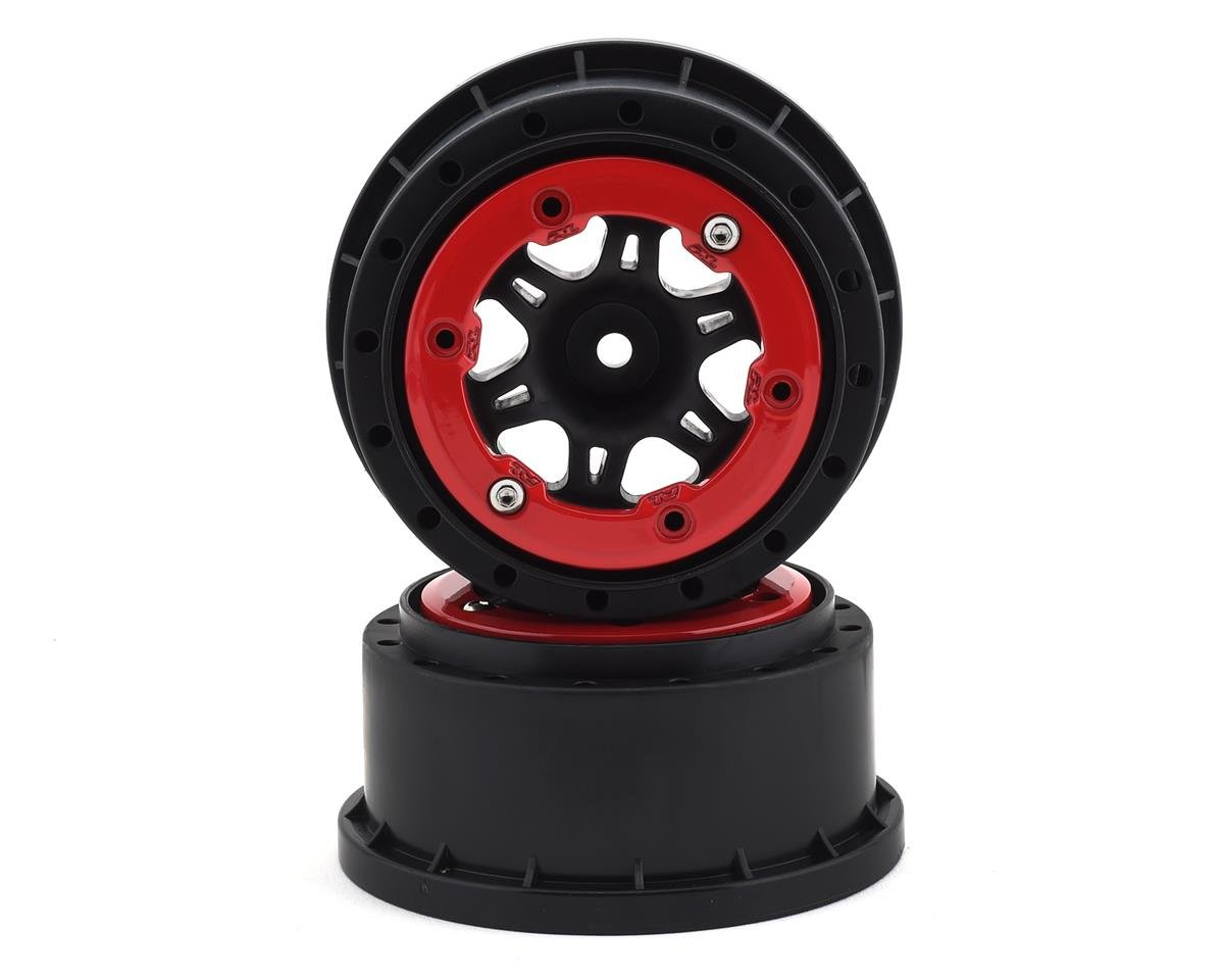 Split Six Bead-Loc Short Course Rear Wheels (Black/Red) (2) by Pro-Line