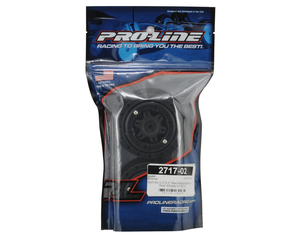 Pro-Line Split Six Bead-Loc Short Course Wheels (Black/Black) (2) (SC10 Rear) (N