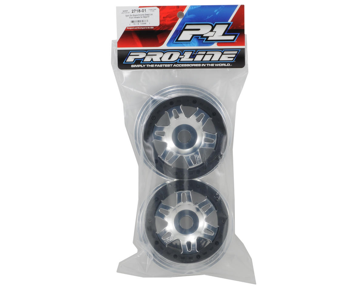 Pro-Line Split Six Bead-Loc Front Wheels (Black/Chrome) (Baja 5T) (2)