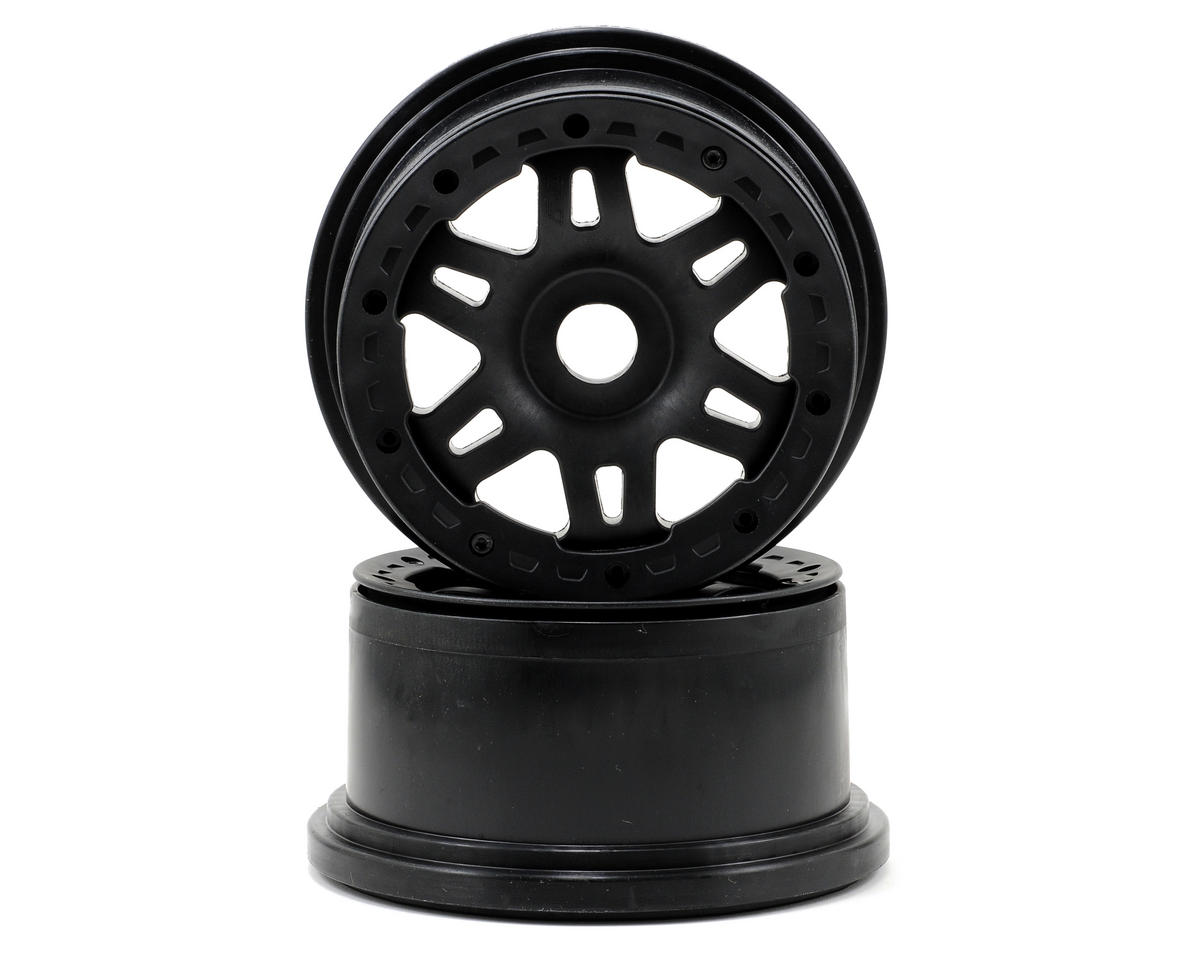 Split Six Bead-Loc Rear Wheels (Baja 5T) (2) (Black/Black) by Pro-Line