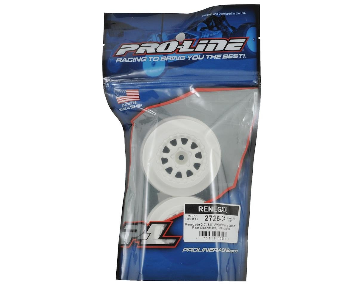 Pro-Line Renegade One-Piece Short Course Wheels (White) (2) (SC6/Slash/Blitz)