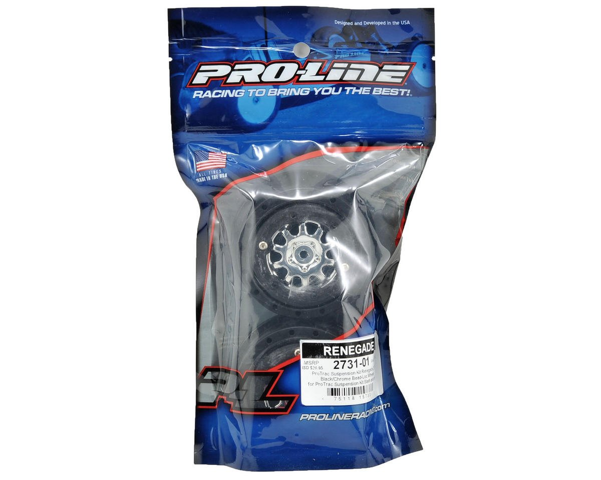 Pro-Line ProTrac Renegade Bead-Loc Short Course Wheels (Chrome/Black) (2)