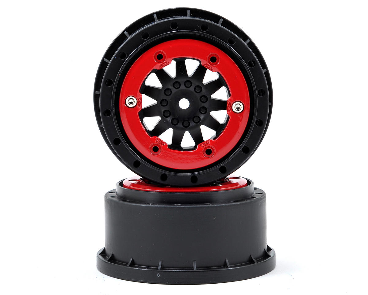 Pro-Line ProTrac F-11 Bead-Loc Short Course Wheels (Black/Red) (2) (Losi TEN-SCT Nitro)