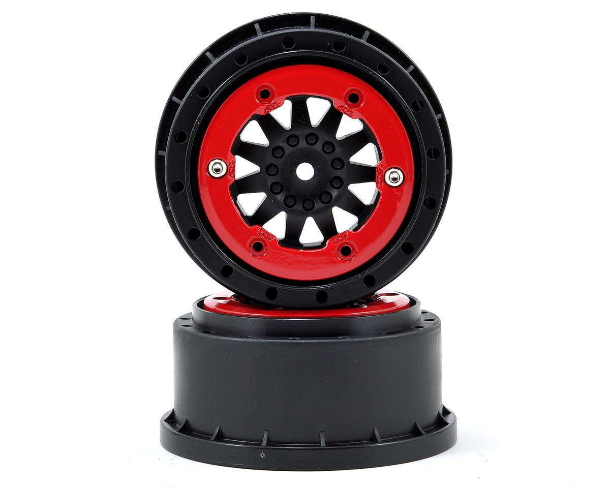 ProTrac F-11 Bead-Loc Short Course Wheels (Black/Red) (2) by Pro-Line