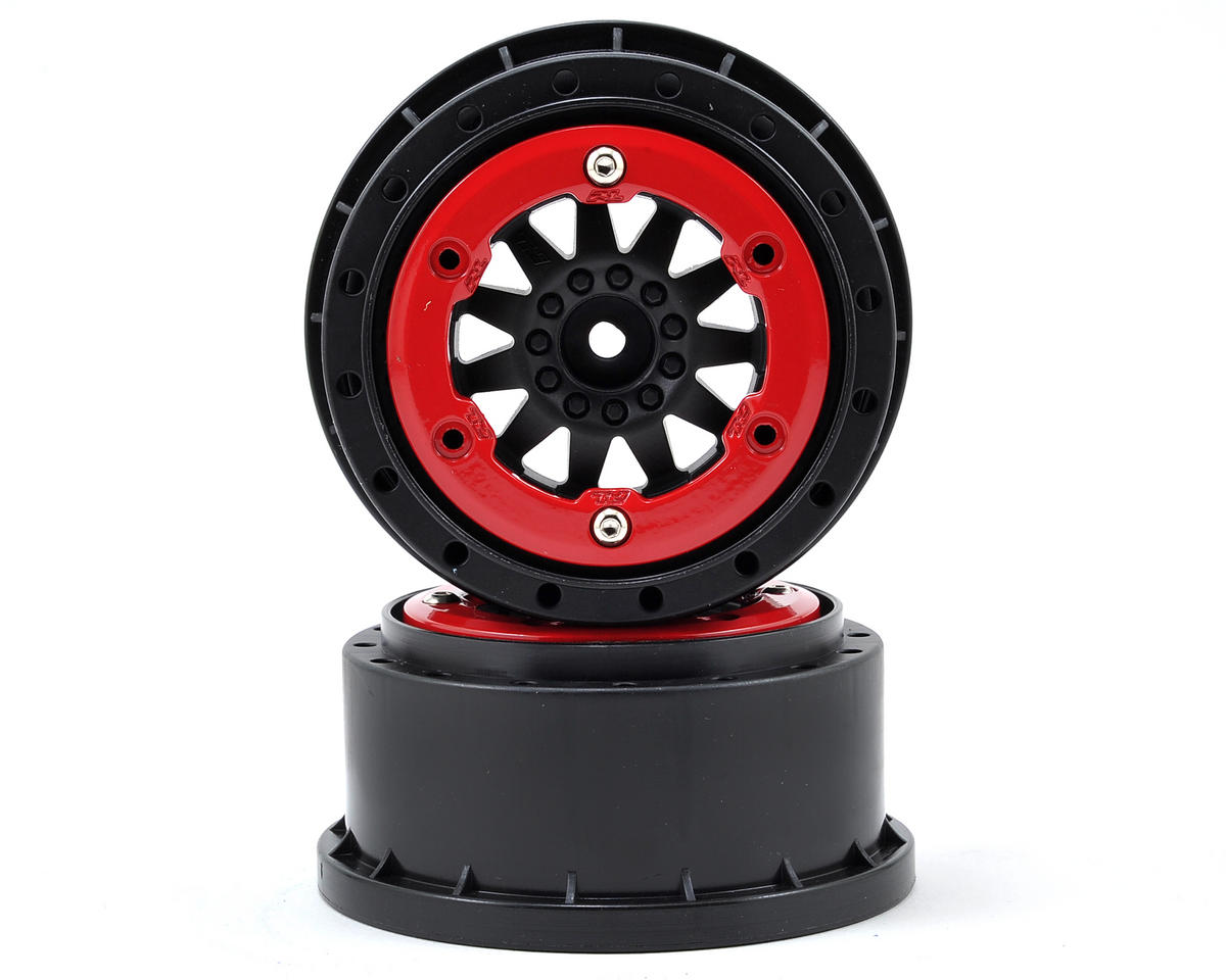 Pro-Line F-11 Bead-Loc Short Course Wheels (Black/Red) (2) (HPI Blitz)