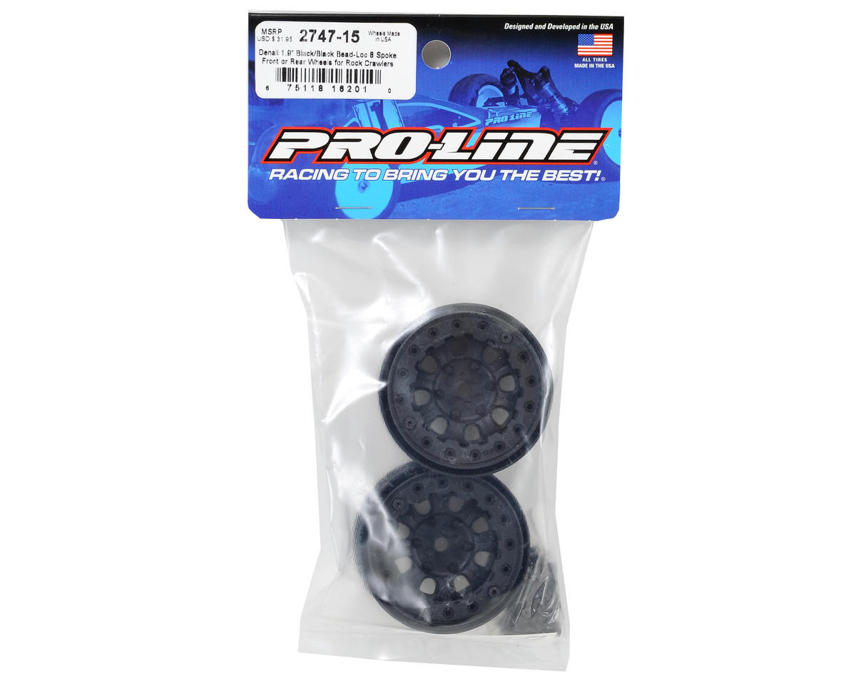 "Denali 1.9"" Bead Loc Rock Crawler Wheels (2) (Black/Black) by Pro-Line"