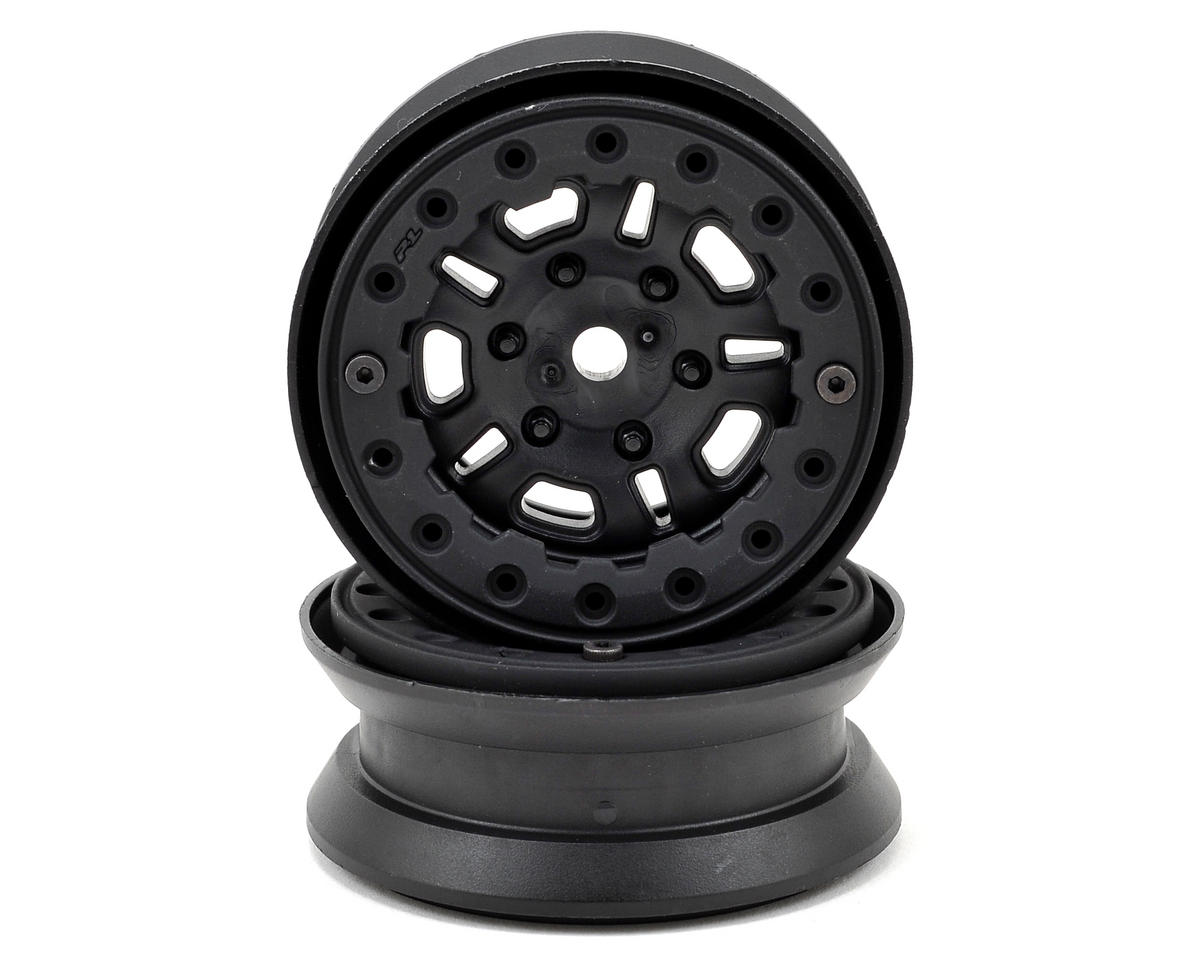 "FaultLine 1.9"" Bead Loc Rock Crawler Wheels (2) (Black/Black) by Pro-Line"