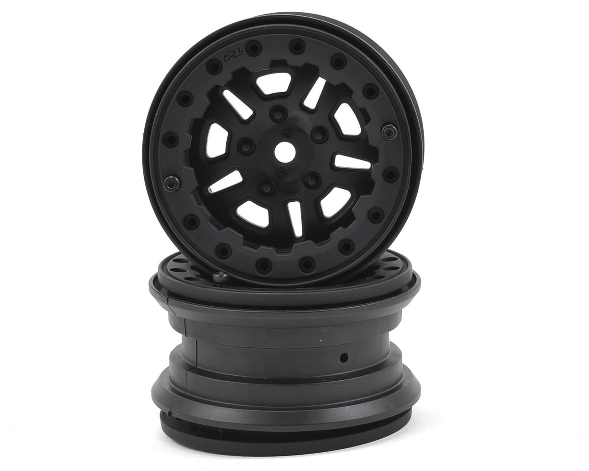 FaultLine 2.2 10 Spoke Bead-Loc Crawler Wheels (2) (Black/Black) by Pro-Line