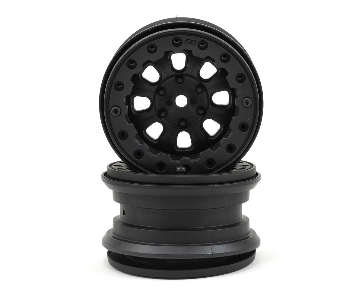 Denali 2.2 8 Spoke Bead-Loc Crawler Wheels (2) (Black/Black) by Pro-Line