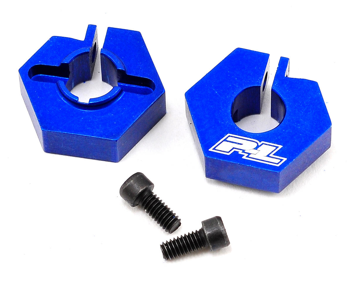 Pro-Line Aluminum 12mm Front Clamping Hex Wheel Adapter Set (Blue) (2)