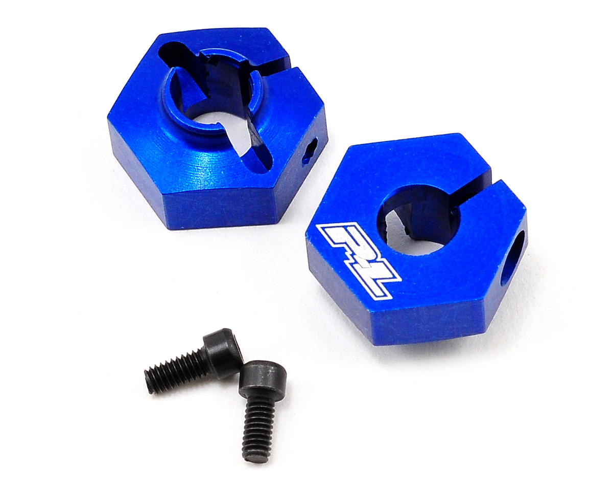 Pro-Line Aluminum 12mm Rear Clamping Hex Wheel Adapter Set (Blue) (2)