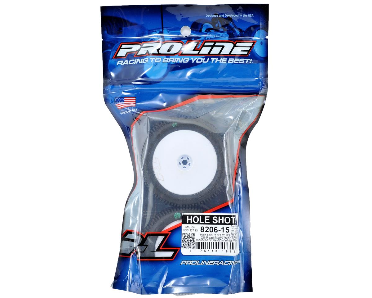 "Pro-Line Hole Shot 2.0 M3 2.2"" Rear Buggy Tires (Pre-Mounted) (2) (White)"