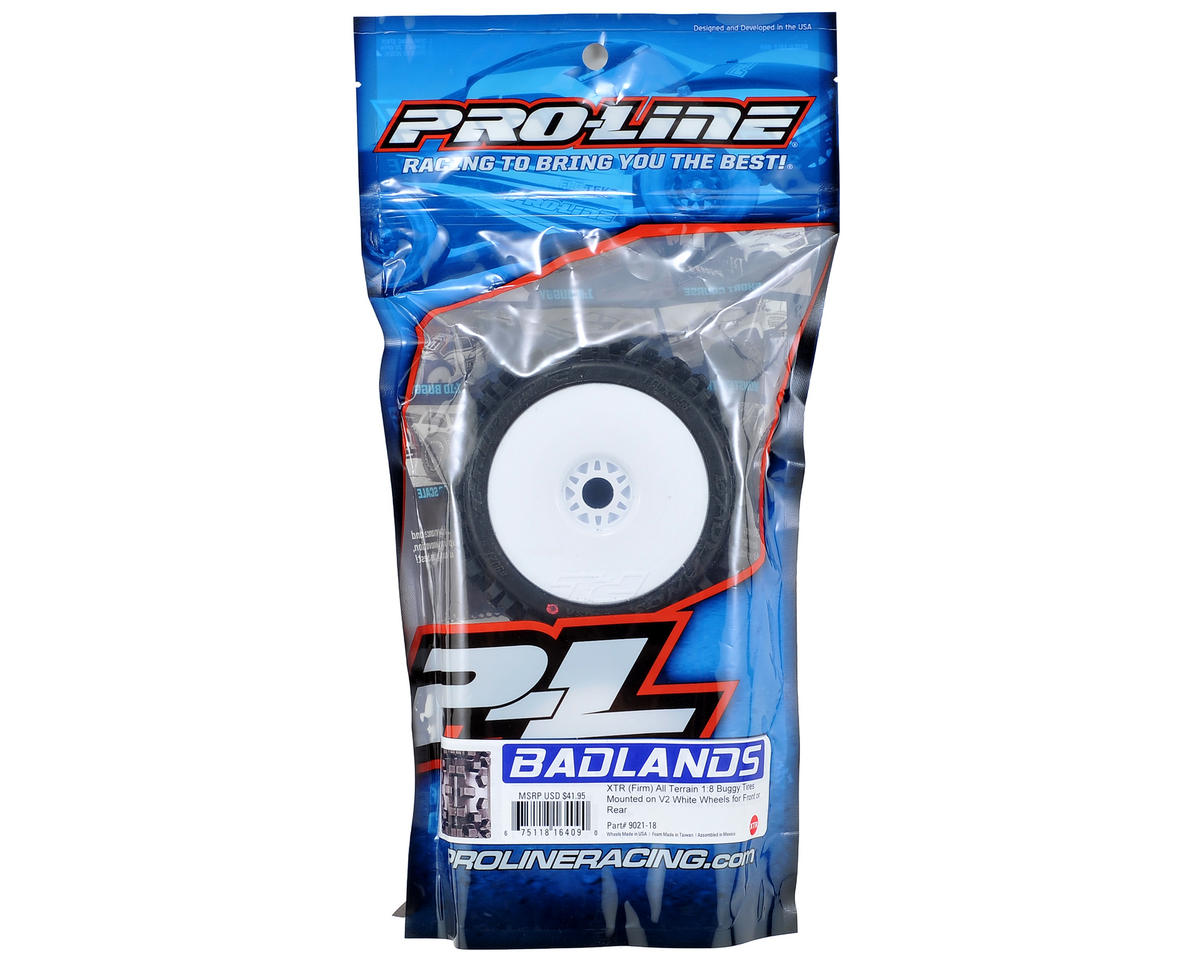 Badlands Pre-Mounted 1/8 Buggy Tires w/Lightweight Wheel (2) (XTR) by Pro-Line