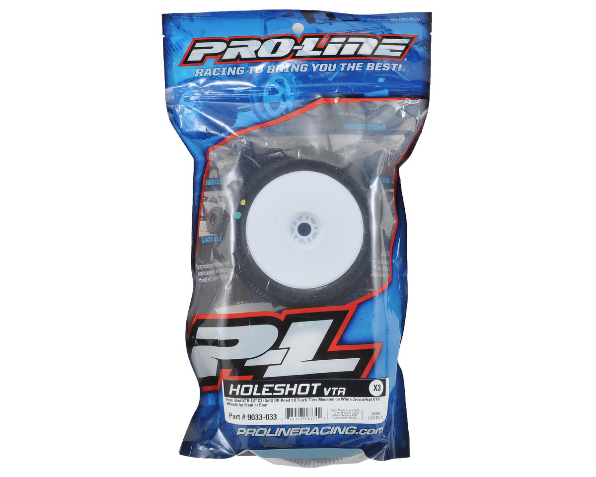 Pro-Line Hole Shot Pre-Mounted VTR 1/8 Truck Tires (2) (White) (X3)