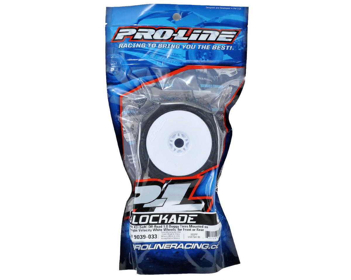 Blockade Pre-Mounted 1/8 Buggy Tires (2) (White) (X3) by Pro-Line