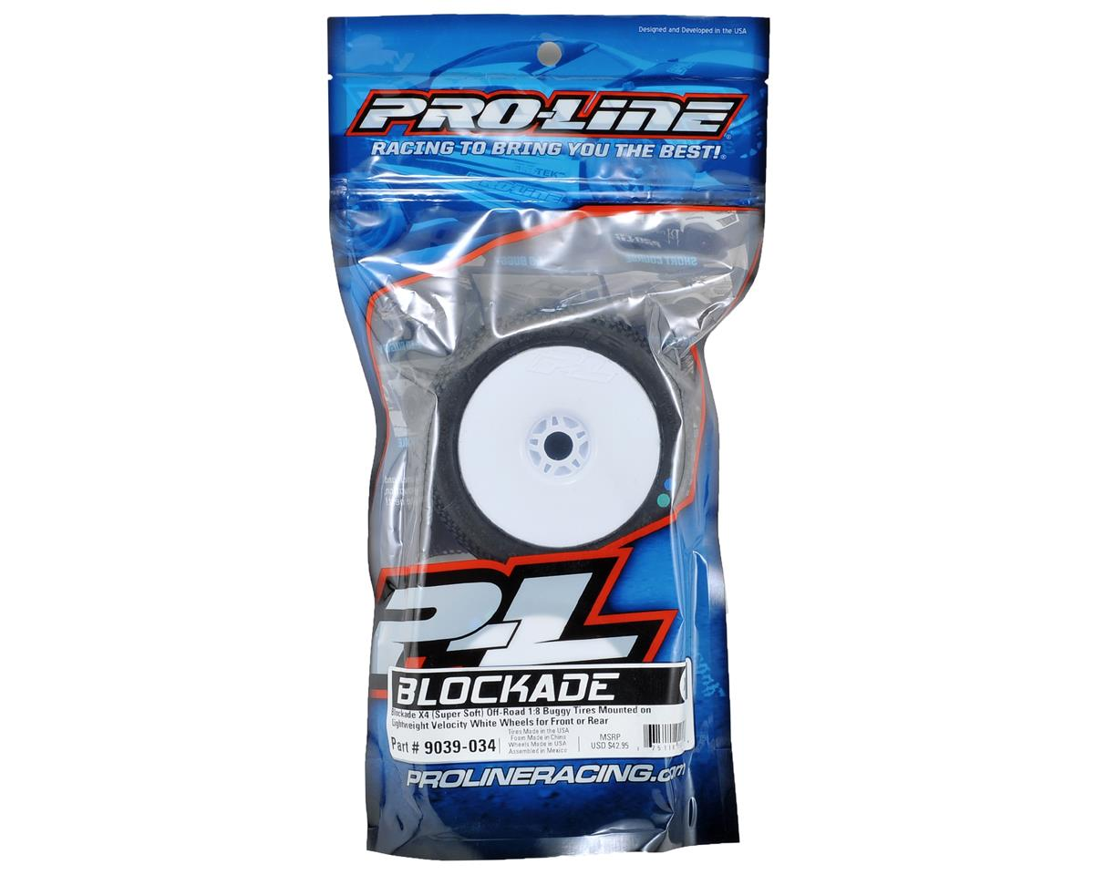 Pro-Line Blockade Pre-Mounted 1/8 Buggy Tires (Velocity) (2) (White) (X4)